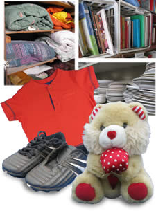 reusable clothing, shoes, stuffed animal, books & kitchenware