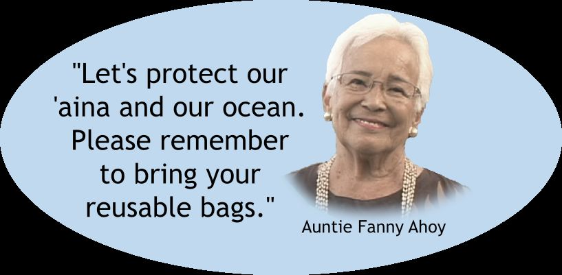 """Let's protect our 'āina and our ocean. Please remember to bring your reusable bags."" - Auntie Fanny Ahoy quote"