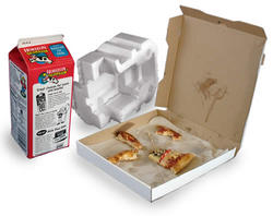 Pizza box, waxed milk carton, styrofoam