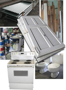 reusable construction materials, appliances, paints & fixtures