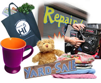 Reusable items (bag, cup, teddy bear, clothing & equipment) & Reuse Options